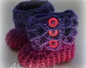 Crocodile Stitch Lupine Purples and Pinks Booties with Buttons Newborn - 6 Months Crochet Boots - Finished, Complete, Made and Ready to go