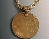 """Bronze Textured Pendant Golden OOAK Unique 25"""" Chain"""