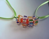 Ribbon and Glass Unique Necklace OOAK Fun Flirty Lightweight