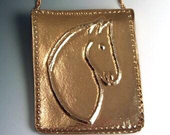 Gold Bronze Horse Pendant Necklace OOAK Unique Handmade