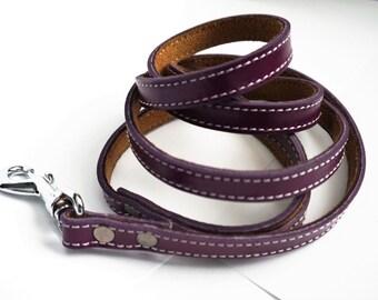 Purple Leather Dog Leash