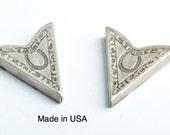 Collar Tip , Western Collar Tip horse shoe stamped , Antiqued Silver, 2 ea