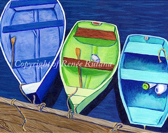 "CAPE COD Blue, Aqua and Lime Rowboats, 8x10"" Matted Print"