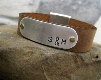 Hidden Message Personalized Mens Bracelet- Custom Message Inside and Out- Leather Custom Bracelet