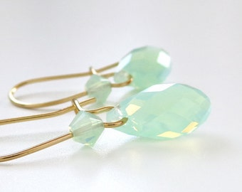 Mint Green Opal Crystal Teardrop Earrings - Swarovski crystal - Crystal Bridesmaid Jewelry - mint opal