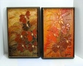 Vintage Pair Abstract Floral Paints by Seattle Artist Russell Original Paintings Northwest Outsider Art