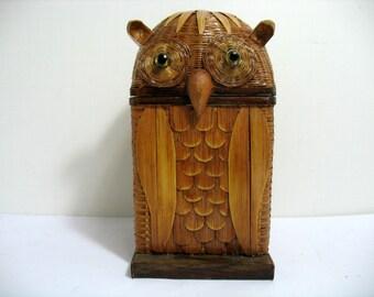 Vintage Owl Box Rattan Wood Figural Trinket Stash Box Bird