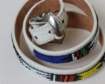 Vintage Justin Beaded American Indian Leather Belt and Buckle Size 28 White Leather Silver Tone Buckle