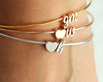 Cursive Initial Bangle Bracelet Double Charm - Initials Dainty Bracelet Gold, Silver, or Rose Gold Bridesmaid Gift Personalized Wedding Gift