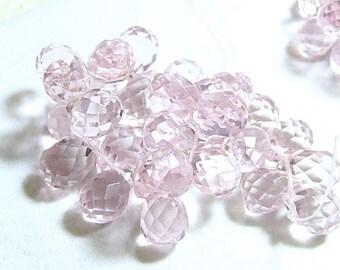 Faceted Teardrop Pink Briolette Pendant Drop, 16x10mm. Glass Quartz Gemstone. Packet of 2 Teardrops. (75qz2) - SALE - WAS 3.50