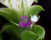 The Lotus Ring in Sterling Silver with Top Quality (Gem Quality) Blue Sheen Moonstone, Right Hand Ring/Engagement Ring, Made to Order