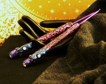 Vivid Neoclassical Artisan Polymer Wrapped Crochet Hooks Set