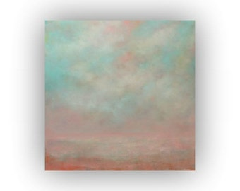 Large Abstract Landscape- Peach Pink and Blue Oil Painting on Canvas- 36 x 36 Sky and Clouds Original Palette Knife Art