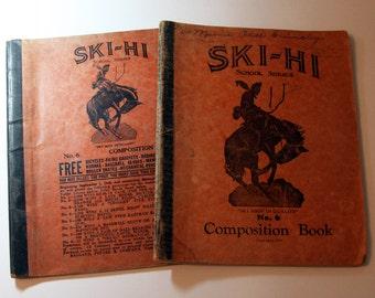 Vintage Ski-Hi COMPOSITION Books full of Handwriting- 1933-School Notebooks- Cowboy Horse Book