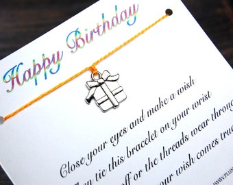 Happy Birthday - Wish Bracelet With Gift Charm - Shown In The Color GOLDEN - Over 100 Different Colors Are Also Available