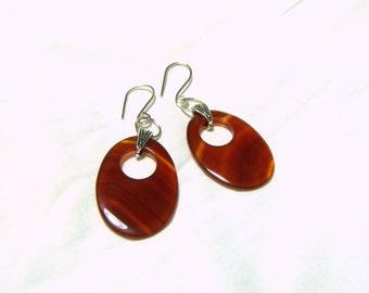 Carnelian Earrings, Sterling Silver Bali Dangle Earrings, Gemstone Jewelry, Oval Earrings, Pierced Earrings, Red Earrings, Jewelry for Women