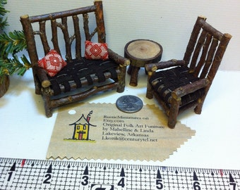 COTTAGE SIZE Rustic Miniature Dollhouse Furniture Set RealPuki BJD Doll 5 pieces Chair table Settee Woodland Cabin style leather twig red