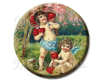 "Cherubs Angels Finding Hearts Pocket Mirror, Magnet or Pinback Button - Shower Favors, Bridesmaid, Wedding 2.25""- MR314"