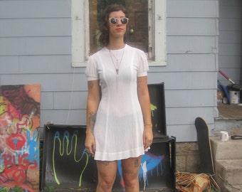 White sheer mesh Scooter dress 1970s SM