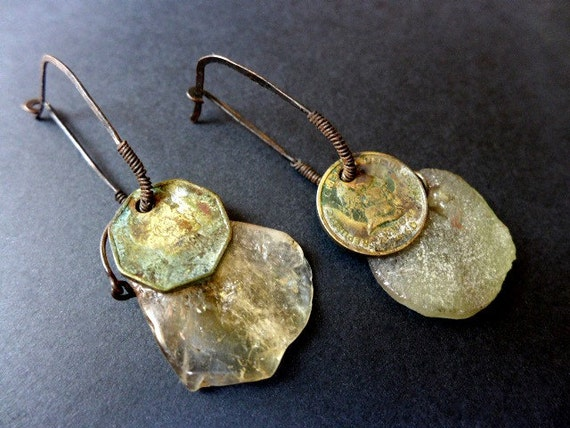 Anchorage. Coin, citrine and roman glass earrings.
