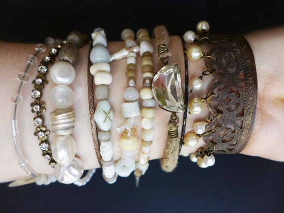 Beach Sand 2. Bangle stack. Rustic tribal gypsy bracelet set with cuff in white and beige.