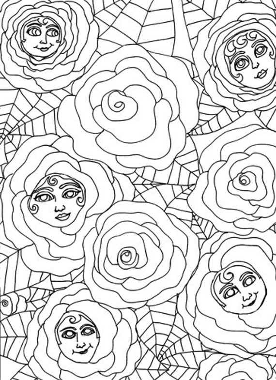 original flower rose coloring page, coloring book page, flower people adult coloring book, abstract coloring page, surreal color book pages