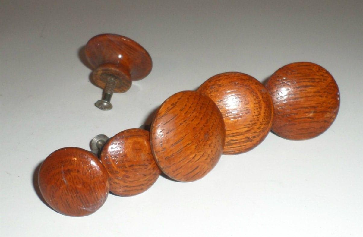 Vintage wood knobs drawer pulls dresser