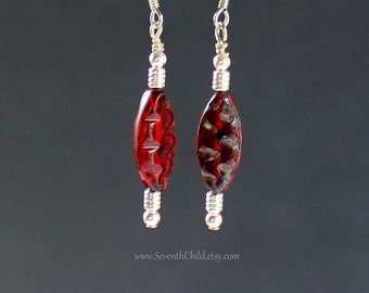 Deep Red Carved Picasso Spindle Bead Earrings - Surgical Steel French Hook Earwires - Red Czech Glass With Green Picasso Finish