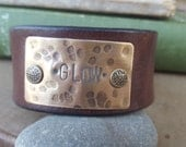 Up-Cycled Brown Leather Cuff Bracelet with - GLOW- Antique Brass Metal