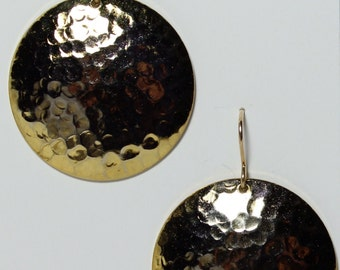 Hammered gold disc