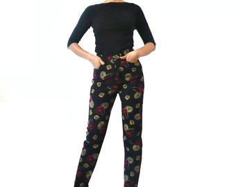 French Vintage KENZO Floral Wool Cashmere Pants