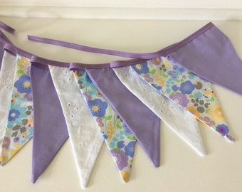 Purple Bunting - Fabric Garland Banner, with flowers and lace, Photo Prop, Room Decoration