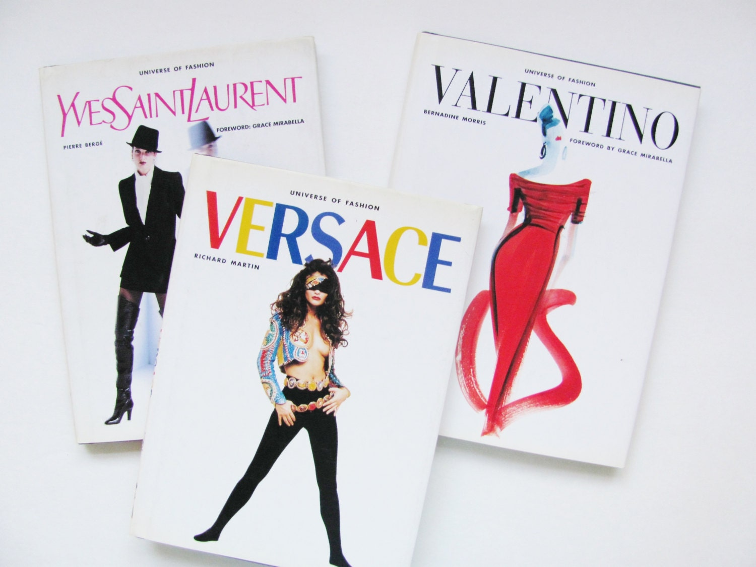 Versace Ysl And Valentino Fashion Designer Books Set Of 3
