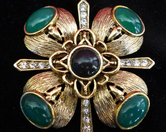 1980s Vinatge Symmetric Pin with Green and Black Stones