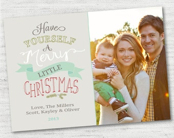 INSTANT DOWNLOAD Merry Little Christmas Christmas Holiday Photo Card - PHOTOSHOP template for photographers