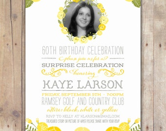 Yellow Rose - Custom DIGITAL Birthday Party Invitation, any age