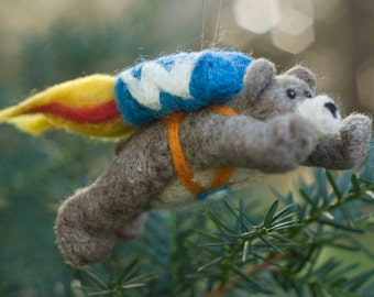 Needle Felted Super Bear - Flying with Jet Pack