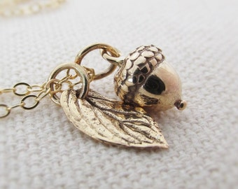Acorn Charm Necklace, Gold Acorn Necklace, Fall Jewelry, Acorn Pendant, Acorn Jewelry