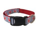 "Crab Shack Dog Collar 1"" Nautical Dog Collar Martingale Leash or Harness"