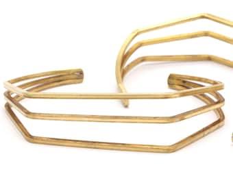 Boho Design Bracelet, Raw Brass Wire Bracelet ( 67x16x52mm) BS-1301 BRC055