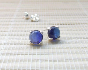 Blue Sapphire Cabochon Earrings Sterling Silver Lab Created 6mm September Birthstone