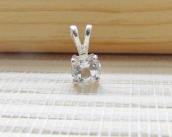 White Topaz Necklace Sterling Silver April Birthstone 6mm