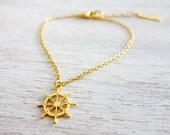 Tiny Wheel Bracelet,  minimalist charm jewelry, girls children kids jewelry