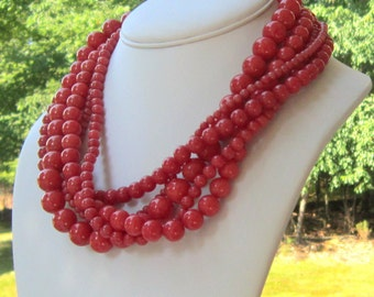 Chunky Necklace in Coral Pink Multi-Strand Statement Necklace, Serendipity Necklace