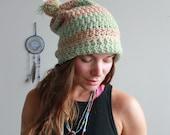 Striped Mint and Tan Pom Pom Slouchy Crochet Crocheted Hat Beanie Floppy Boho By MountainGirlClothing
