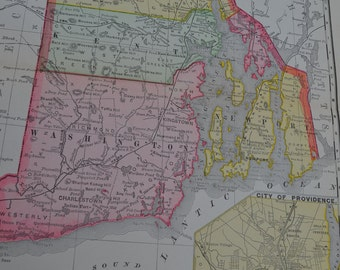 1898 State Map Rhode Island - Vintage Antique Map Great for Framing 100 Years Old