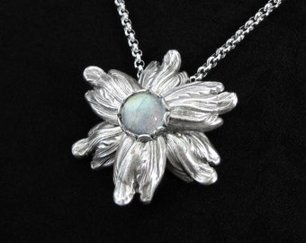 Celestial Blossom - Labradorite Necklace, Silver Flower Necklace, Gifts For Gardeners, Bohemian Jewelry, Star Flower, Boho Chic