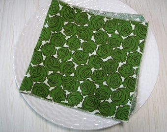 Cloth Napkins Roses Green on Beige Set of 4