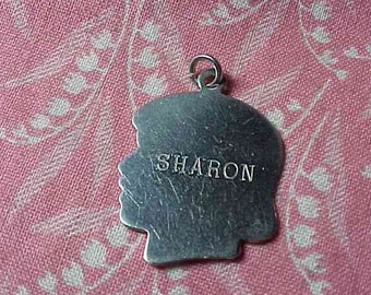 """Vintage Sterling """"Sharon"""" Engraved Girl  Profile Silhouette Charm"""