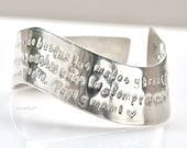 Wavy Cuff Bracelet with Personalized Message